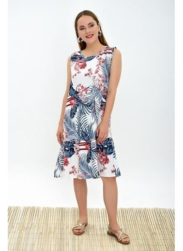 Cottonmood 9313132 Dok.Vis.Çiçek Desen Eteği Fırfırlı Kolsuz Elbise Siyah Çiçek Desen Ekru
